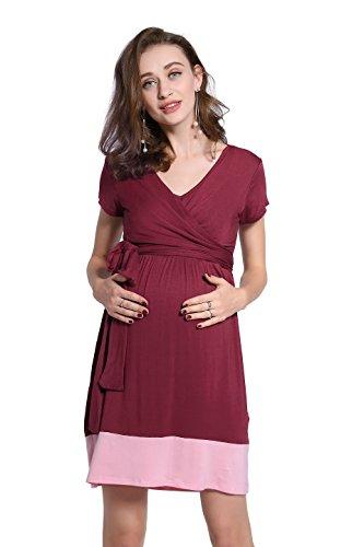 Dance Fairy molliya Umstands-/Stillkleid Wrap Baby Dusche Kleid mit verstellbarem Gürtel L Wine Red+Pink