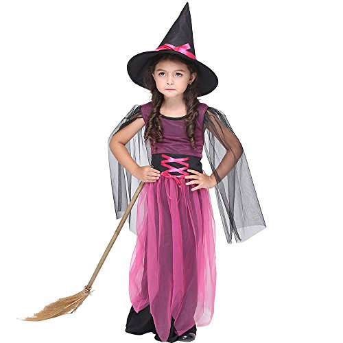 Uleade Kinder Mädchen Hexe Halloween Kostüm Kind Hexe Dress Up & Rolle spielen (Einzigartige Kleinkind Mädchen Halloween Kostüme Ideen)
