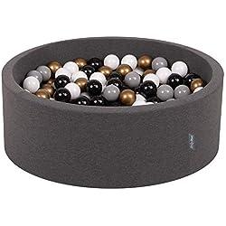 KiddyMoon 90X30cm/200 Balles ∅ 7Cm Piscine À Balles pour Bébé Rond Fabriqué en UE, Gris Foncé:Blanc/Gris/Noir/Or