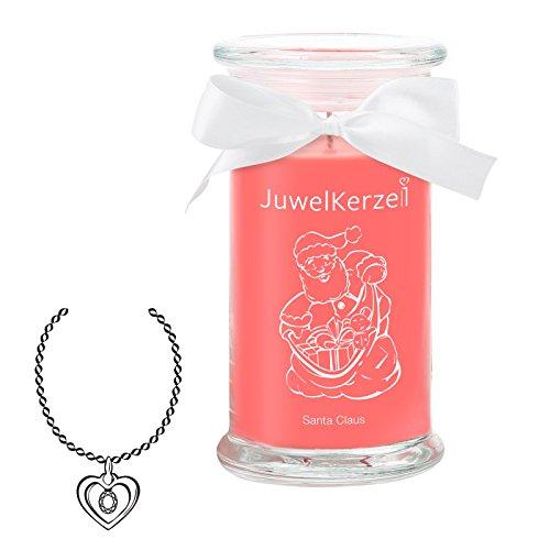 JuwelKerze Santa Claus - Kerze im Glas mit Schmuck - Große rote Duftkerze mit Überraschung als Geschenk für Sie (Silber Necklace, Brenndauer: 90-120 Stunden)