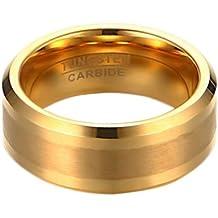 E9Q 8MM de lujo elegante simple cepillado de los hombres de carburo de tungsteno anillo de los hombres de la joyería