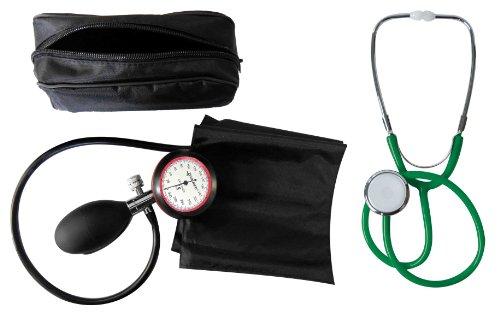 Tiga Gold 1 Blood Pressure Gauge, 1-Loop + Flat-Head Stethoscope, Green, Set of 2 Items, Certified Quality...