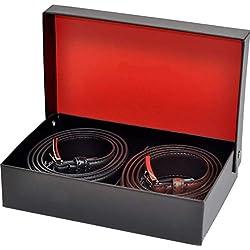 Ashford Ridge Hombres 30mm cinturones de cuero marrón y negro Set de Regalo (cintura tamaños 100cm - 110cm)