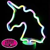 Unicornio Lámparas neón de mesa - LED Unicornio Neon Luces de la noche con pedestal Con el botón, Lámparas de mesa y mesilla de noche, Rosa Iluminación de interior infantil