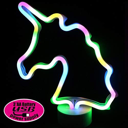 XIYUNTE LED Einhorn Neonlicht Zeichen - Room Decor Nachtlichter mit Sockel, Innenbeleuchtung Batterie & USB Operation Leuchtschilder, Nachttischlampen Home Dekoration für Schlafzimmer(Batterie & USB)