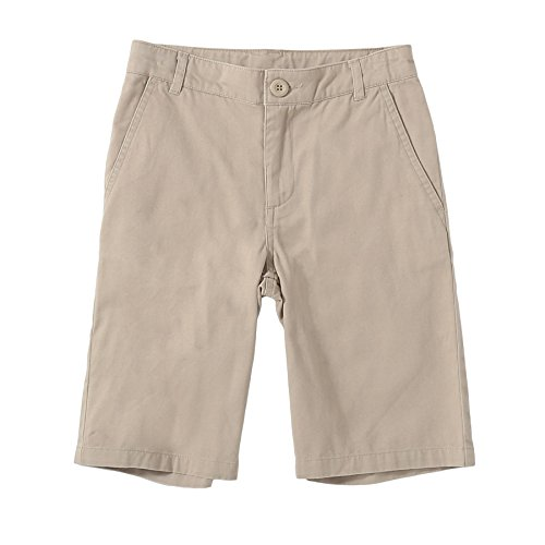 Bienzoe Jungen Baumwolle Schuluniformen flache Front Köper Bermuda Kurze Hose khaki Größe 8 (Front Hosen Flache)