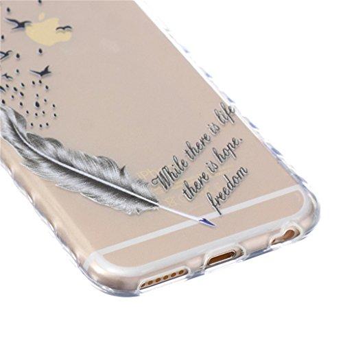 iphone 6 Coque, MYTH Doux Flexible - Coloré Parapluie Slim Silicone Ultra Mince TPU Bumper Protection Housse Pour iphone 6 / iphone 6s Esquisser Plume