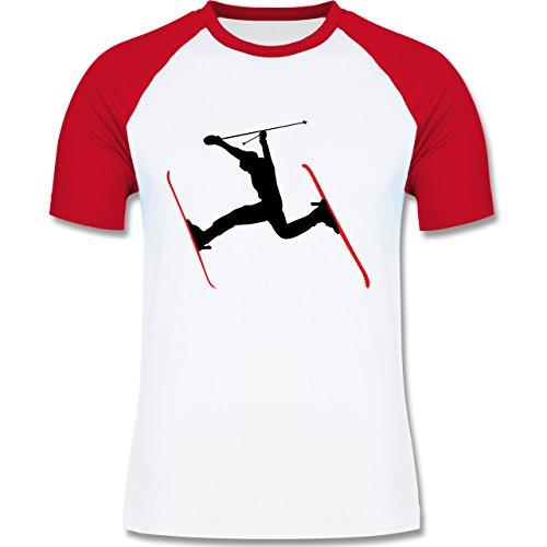 Wintersport - Skifahren Skisprung Ski - zweifarbiges Baseballshirt für Männer Weiß/Rot