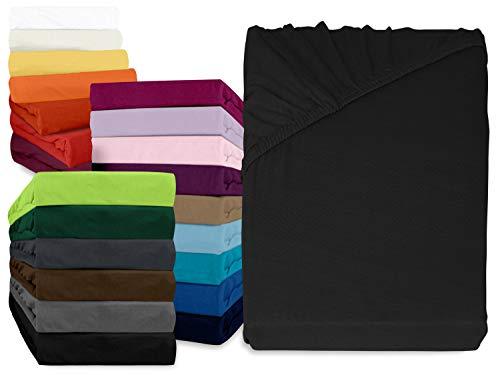 npluseins klassisches Jersey Spannbetttuch - erhältlich in 34 modernen Farben und 6 verschiedenen Größen - 100% Baumwolle, 180-200 x 200 cm, schwarz
