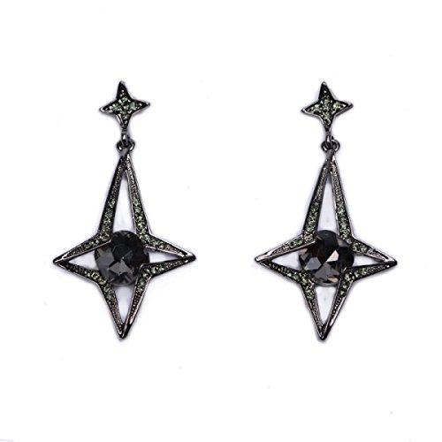 Ohrringe Diamond Baumeln Black (Diamond Star Ohrringe Mode Persönlichkeit Anhänger Ohrringe,Black-L)
