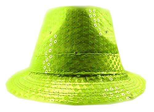 Leuchtstäbe Kostüm - Trendit LED Party Hut Pailletten Hüte mit Lichtern Fasching neon gelb