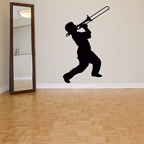 ljradj Posaune TrompeteEntfernbare WandaufkleberFür Wohnzimmer Tapete Dekoration Wandtattoos Schlafzimmer Jungen Musik Kunst Decor42X70 cm