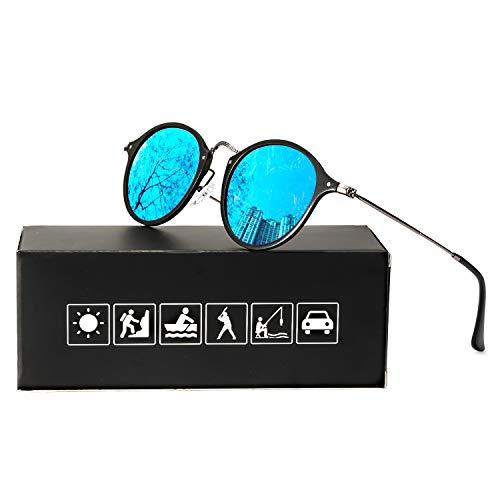 ELIVWR Runde Retro Polarized Sonnenbrille für Männer und Frauen Vintage Classic Light Metall Frame, UV 400 (grauer Rahmen/blaue Linse) (Sonnenbrille Retro Blaue)