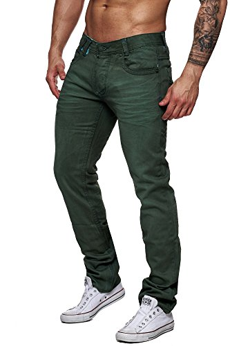 HERREN CHINO COLOURED JEANS FIT HOSE CLUBWEAR VINTAGE Grün