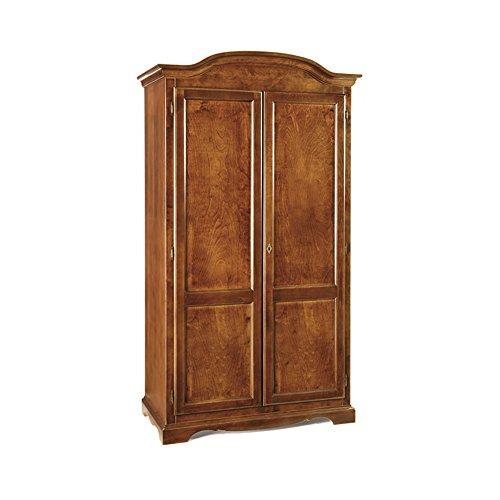 Inhouse srls armadio 2 ante, arte povera, in legno massello e mdf con rifinitura in noce lucido - mis. 107 x 55 x 197