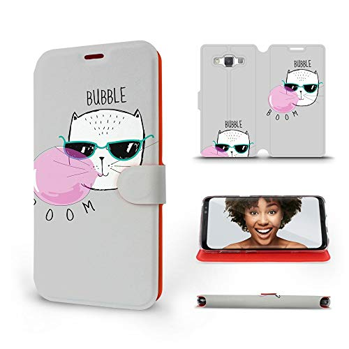 MOBIWEAR | Slim FLIP Case | Kompatibel mit Samsung Galaxy A5 2015, Made in EU handyhülle, Premium Schutzhülle, Transparent TPU Silicon, Book Style Hülle, Tasche - Bubble Boom