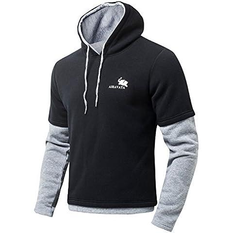 Jiayiqi Gris Negro Hombres Cosiendo Camisas Adultos Jersey Sudadera Con Capucha