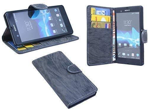 ENERGMiX Elegante Buch-Tasche kompatibel mit Sony Xperia Z (L36H) in Anthrazit Wallet Book-Style (Sony Xperia Z L36h Zubehör)
