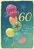 DeCoArt... Glückwunschkarte Happy Birthday 60 Geburtstag Luftballons So ein schönes buntes leben