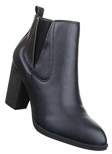 Damen Stiefeletten Schuhe Stretch Boots Schwarz Schwarz