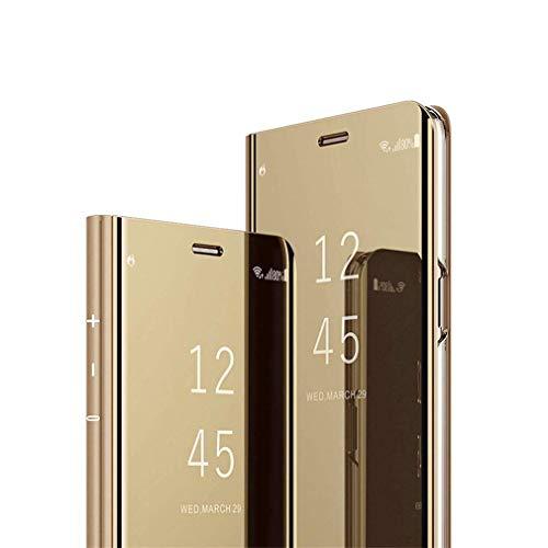 Hnzxy Coque iPhone 6 / 6S Housse en PU Cuir Flip Case Portefeuille Etui Placage Miroir Effet Transparent View PU Cuir étui à Rabat Flip Coque Standing Antichoc Etui Pour iPhone 6/6S,Gold
