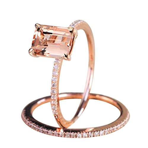 Ohrringe Quadratischer Gold-diamant (Schmuck Damen Ring, Dragon868 Rose Gold Verlobungsring Mit Einem Feinen Kleinen Quadratischen Zirkon Ring (7, Roségold))