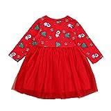 Weihnachten Kleinkind Kind Mädchen Langarm Cartoon Schneemann Kleid Baby Kind Weihnachtsbaum Schneemann Schneeflocke Print Flauschige Rock Kleid