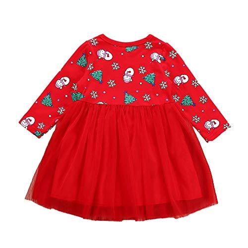 Weihnachten Kleinkind Kind Mädchen Langarm Cartoon Schneemann Kleid Baby Kind Weihnachtsbaum Schneemann Schneeflocke Print Flauschige Rock Kleid (Günstige Schneemann Kostüm)