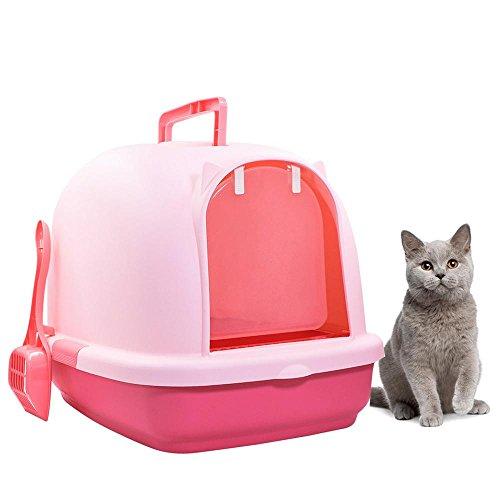 Aolvo toilette komoda gatto lettiera toilette per gatti lettiera per gatto con coperchio chiusa completa senza odore spazio grande,50 * 38 * 39cm con pala di pulizia ideale per gatti diversi,rosa