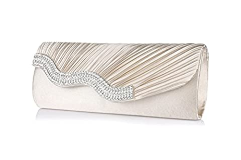 Women Satin Pleated Rhinestone Frosted Envelope Clutch Wedding Party Prom Evening Handbag Crystal Diamantes Purse By Bekilole (Champagne)