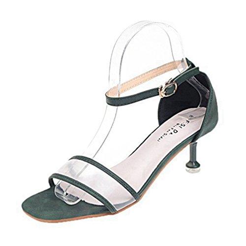 JRenok Frauen Sandalen Open Toe Einzelne Frauenband schnallte Knöchel Strappy Mitte Stiletto Heel Slingback Sandalen