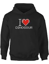 a9b87e942aeb2 Idakoos I love Dinosour pixelated - Dinosaurios - Sudadera con capucha para  niña