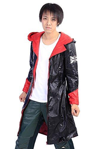 De-Cos Devil May Cry Cosplay Costume Devil Hunter Dante Leatherette Cloak (Dante Halloween Kostüm)