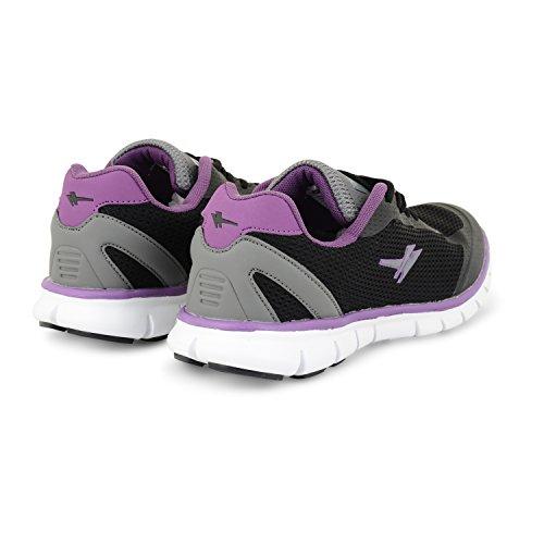 Gola Active Termas Womens Athletic Baskets de cours'à pied ultralégère et respirante - Black Grey Purple
