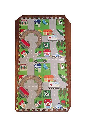 Puzzlematte Spielmatte 120 x 60 cm Puzzle für Babies und Kleinkinder. Straßen, Autos, auch für größere Kinder Bunt Kinderteppich Teppich Schaumstoffplatten