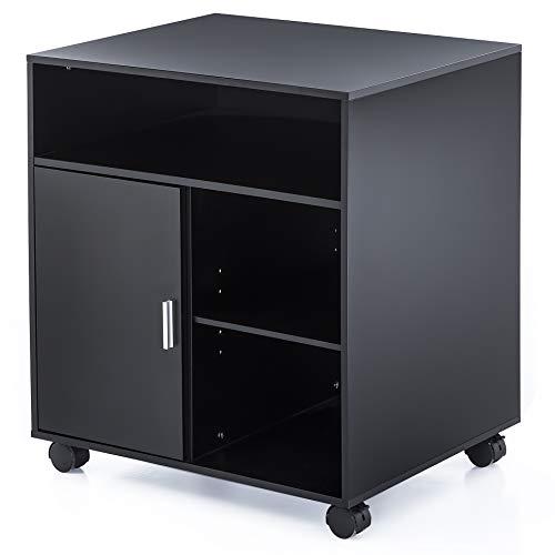 FITUEYES Büro Schrank Multifunktionswagen Drucker Ständer aus Holz 60x50x66cm schwarz PS406001WB -
