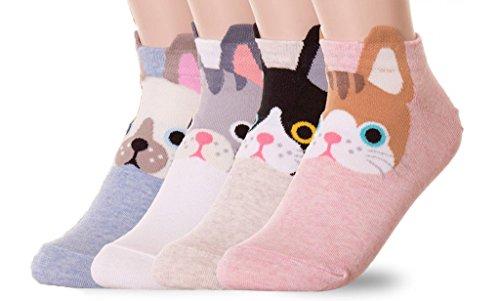 Ksocks Damen Socken-Geschenkset, Design mit niedlichen Cartoon-Tieren, Einheitsgröße Gr. Einheitsgröße, Ear Cuff Kitties -