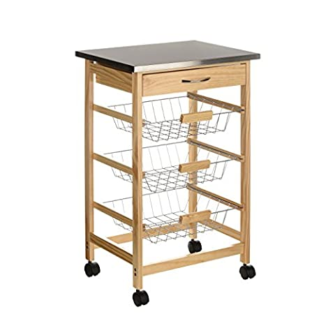 Modern Style Serving Kitchen Trolley with Stainless Steel Top Features Three Removable Wire Baskets and One Drawer - Perfect For Storing Fruit, Vegetables and