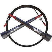 Corda per Saltare Crossfit veloce nera - cavo in acciaio regolabile - Jump Rope leggera per l'allenamento, il pugilato, il fitness, il bodybuilding + Sacchetto per trasporto E Manuale utente digitale