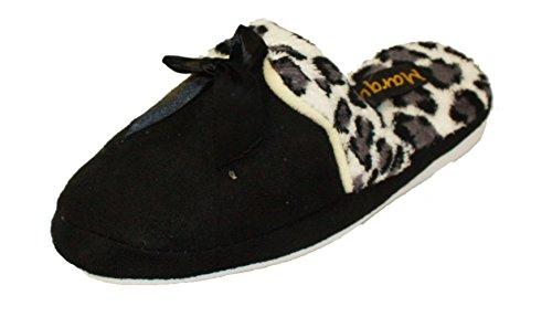 Coolers Damen Hausschuhe, Fleece, mit Leoparden-Print, Fleece-Futter, A13 & Schwarz