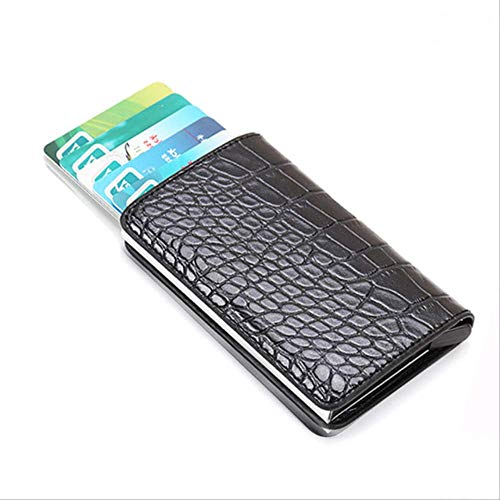 Black Magic Wallet (BUDIAN Brieftasche Wallet Men Mini Carbon Fiber Magic Wallets Male Thin Slim Wallet Card Holder Leather Walet Purse Money Bags  C-Black-B)