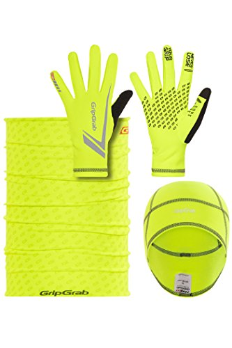 Preisvergleich Produktbild GripGrab Running Essentials Hi-Vis Multipack Fluo Yellow Handschuhgröße M 2018 Kopfbedeckung