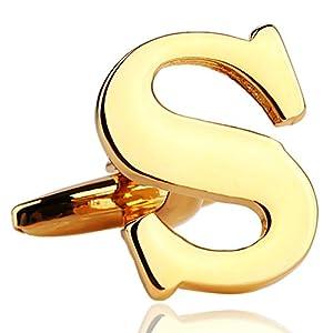 AnaZoz Schmuck Messing Manschettenknöpfe Hemd Initiale englischen Großbuchstaben Alphabet Buchstabe S Gold für Männer