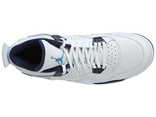 Nike Herren Air Jordan 4 Retro Ls Basketballschuhe, Schwarz Blanco / Azul (White / Legend Blue-Mdnght Navy)