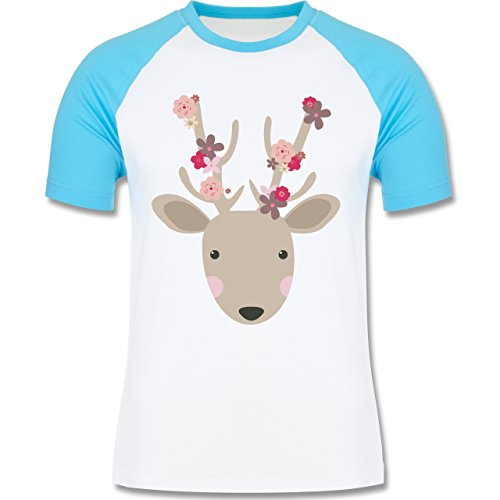 Ostern - Süßer Hirsch - Frühlingstiere mit Blumen - zweifarbiges Baseballshirt für Männer Weiß/Türkis