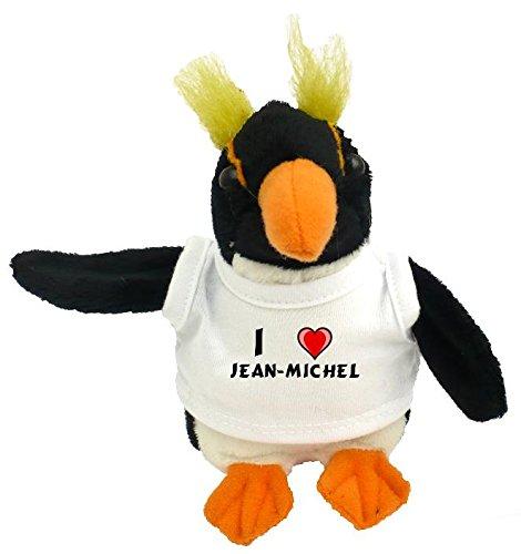 Peluche pingouin personnalisé avec un T-shirt J'aime Jean-Michel (Noms/Prénoms)