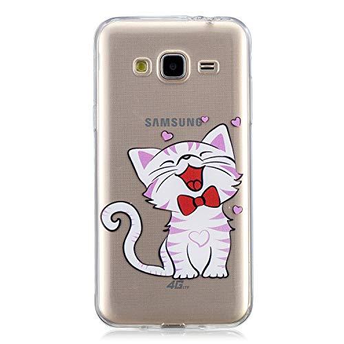 Herbests Handy Tasche für Samsung Galaxy J3 2016 Silikon Hülle Durchsichtige Schutzhülle Crystal Clear Transparent Ultra Dünn Handyhülle Silikonhülle Kristall Klar TPU Bumper,Niedlich Katze