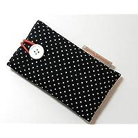 Handytasche aus Stoff - POLKA DOTS SCHWARZ - mit Knopf für SAMSUNG Galaxy S9 , S8 , S7 edge , A8 , A6 und J7 - gepolsterte Handyhülle - Geschenk Weihnachten Geburtstag Muttertag Vatertag - Hülle / Tasche für Smartphone - Handy-Tasche / Handy-Hülle - cotton case / sleeve - Baumwolle