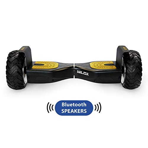 Nilox Hoverboard Doc Off Road UL 2272 mit Bluetooth Speaker, ElektroScooter, E-Balance Scooter, Elektro Hoverboard,  Self Balance Scooter , Balance Scooter 8\'\' Inch,  360 W,  10km/h,  Schwarz