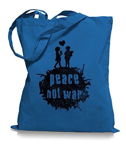 Ma2ca® Peace not War - Jutebeutel Stoffbeutel Tragetasche / Bag WM101 Cornflower Blue